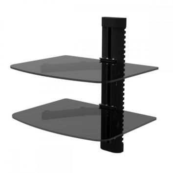 2 Tier Glass Shelf Wall Mount Bracket for DVD Players/Cable Boxes V02