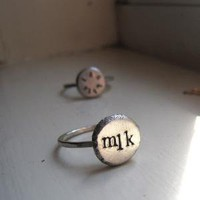 Rustic Personalized Silver Tab Ring by tinahdee on Etsy