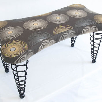 "Modern Handmade Upholstered Bench, Dog bone shape with Spiral Cone Legs, 36"" Length, Modern Grey Starburst Fabric"