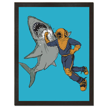 "Shark, Diver, Jaws, Underwater, Tin Tin, Shark Week, Digital Print, Art Poster 18"" x 24"""