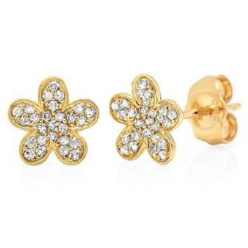 0.16ct 14k Yellow Gold Diamond Flower Earring