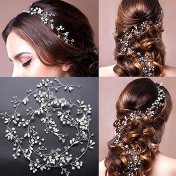 Wedding Flower Vine Tiara Bride Head Chain Bridal Bride Hair Ornaments Wedding Hair Jewelry Accessories Tiara De Novia 50cm