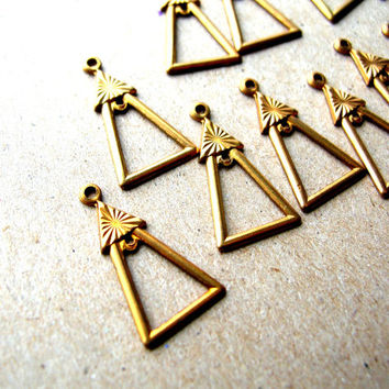 12 Drop Charms - Gold Tone Charms - Art Deco Brass Charms - Jewelry Findings - Vintage Art Deco Charms