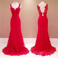 Sexy Womens Lace Long Evening Gown Formal Bridesmaid Party Dress