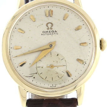Men's Vintage Omega Gold-Filled Silver Stick Dial Brown Lizard Leather Automatic 31mm Watch