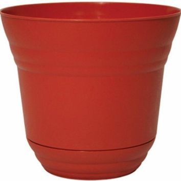 "Robert Allen PIM01195 Traverse Planter with Attached Saucer, 5"", Brick Red"
