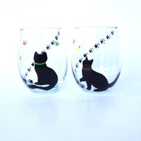 Cat and butterfly hand painted stemless wine glass