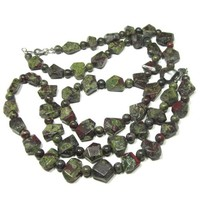 Bloodstone Jasper Necklace Or Choker Chunky Dark Moss Olive Deep Red