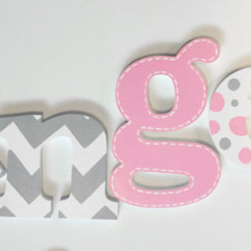 Chevron White, Grey & Pink Wooden Wall Name Letters / Hangings, Hand Painted for Girls Rooms, Play Rooms and Nursery Rooms