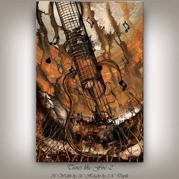 Music Art painting GUITAR MUSIC ART Painting Original pop abstract paintings online gallery acoustic guitar Fine art artwork on Canvas