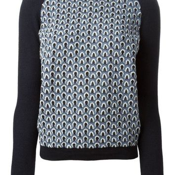 VONEG8Q Tory Burch white collar printed sweater