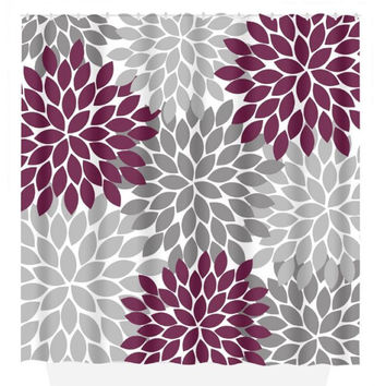 Floral SHOWER CURTAIN Custom MONOGRAM Personalized Bathroom Decor Gray Maroon Flower Burst Pattern Choose Color Beach Towel Plush Bath Mat