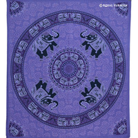 Blue Psychedelic Hippie Trippy Elephant Mandala Tapestry Wall Hanging on RoyalFurnish.com