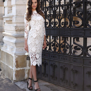 White Vintage Lace Short Evening Dresses 3/4 Sleeve High Neck Elegant Party Prom Gowns Tea Length 2016