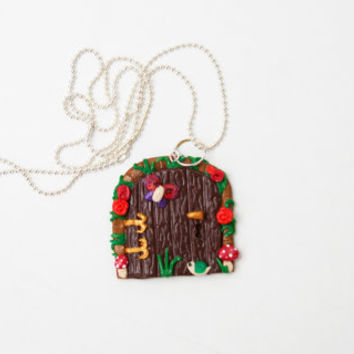 Door Necklace, Polymer Clay Handmade