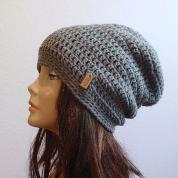 Slouchy Beanie Gray Hat - Crochet Slouch Beanie Womens Grey Beanie Hipster  Hat - Gray Slouchy 5b01acc24c5