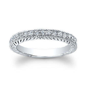 Ladies 18kt white gold antique wedding band 0.25 ctw natural G color VS2 clarity round diamonds