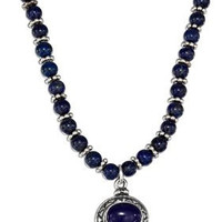 Blue Lapis Beaded Liquid Silver Oval Blue Lapis Necklace
