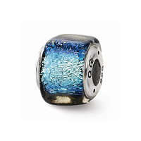 Sterling Silver s Blue Dichroic Glass Square Bead by Reflection Beads
