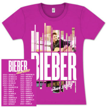 Justin Bieber Guitar Strips Junior Dateback T-Shirt