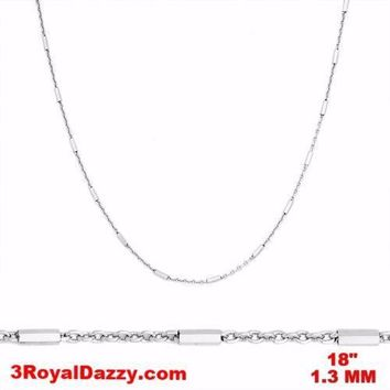 14k White Gold / 925 Sterling Silver Bar & Cable Italy Necklace Chain -1.3mm 18""