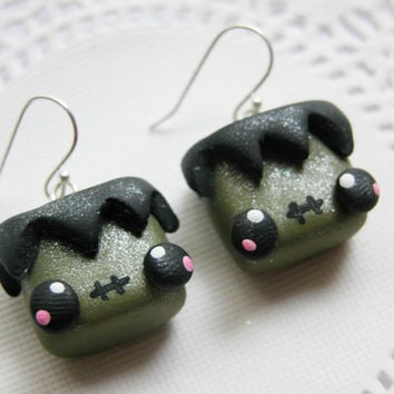 Halloween Earrings Kawaii Frankenstein Polymer FIMO Clay Earrings for Tweens Teens and Adults