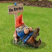 On Strike Sleeping Garden Gnome Yard Art