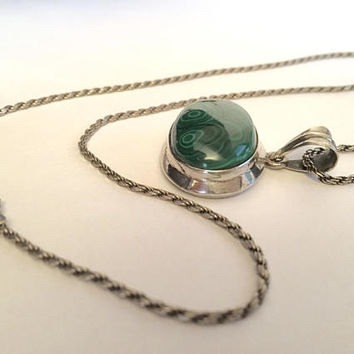 Sterling Silver 30 Inch Rope Chain Necklace with Natural Green Malachite in Sterling Bezel Setting