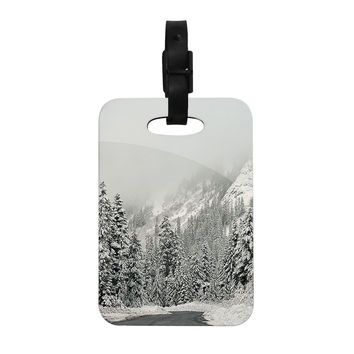 "Robin Dickinson ""Winter Wonderland"" White Gray Decorative Luggage Tag"