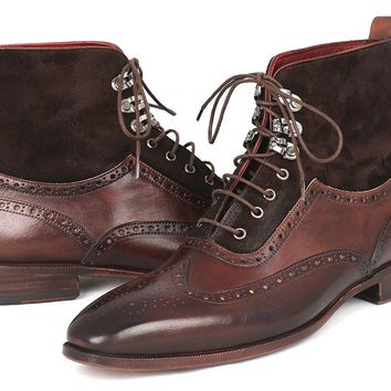 Paul Parkman Men's Wingtip Boots Brown Suede & Calfskin Shoes (ID#991-BRW)