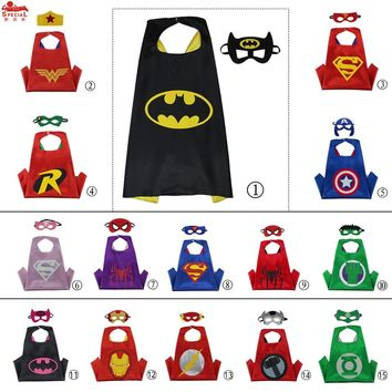D.Q.Z L 27* Halloween Kids Costume Satin Capes With Felt Masks for Child Gift Toys Character Costume Party Hero Cosplay