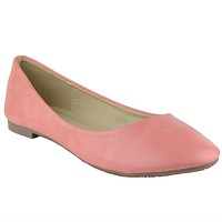 Womens Slip On Ballet Flats Coral