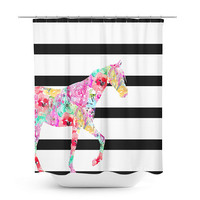 Horse Shower Curtain, Bathroom Decor, Bath Curtain, , Girly Shower Curtain, Floral, Black and white