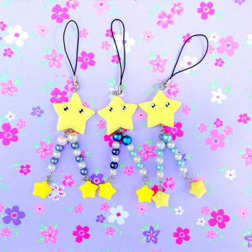 Shooting Star Phone Charm, Kawaii Polymer Clay Star Charm, Pearl Beads Dangle Charm, Cute Clay Charm, Kawaii Face, Yellow Star Figurine