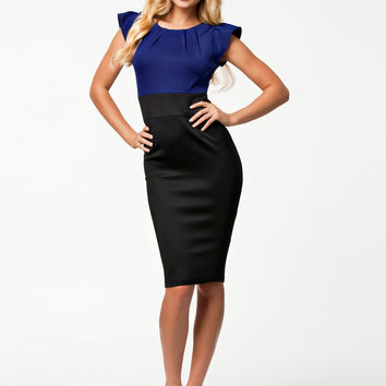 Black and Blue Flounce Sleeve Pencil Dress