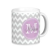 Monogram, Patterns, Chevrons, Gray, Purple Coffee Mug