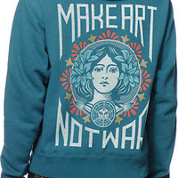Obey Women's Make Art Not War Teal Pullover Hoodie