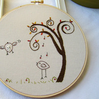Embroidery PDF Pattern Two Birds Spiral Tree Autumn Fall Pattern | Luulla