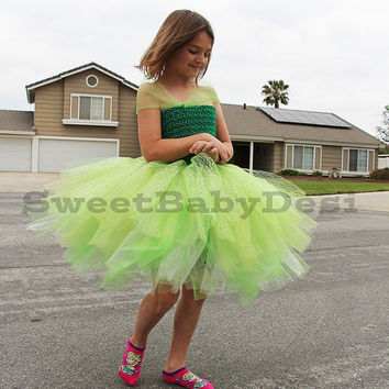 Green Tutu Dress, Girl's Princess Dress, Off The Shoulder Tulle Dress, Knee Length Gown, St Patrick's Day Costume, Crochet Top, Fluffy Dress
