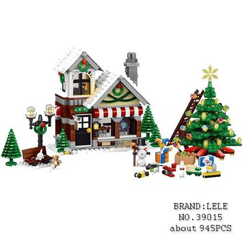 LELE 39015 945pcs Winter Village Toy Shop Creator CHRISTMAS TREE Building Bricks Blocks Toys Compatiblego 10249 Brinquedo