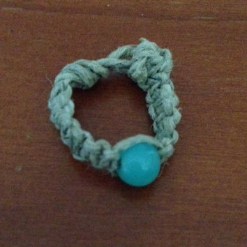 Blue-Beaded Hemp Ring