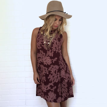 Vine Renegade Shift Dress In Burgundy