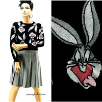 90s Bugs Bunny cropped sweater size XS / S black bugs bunny looney tunes warner bros crop sweater by divided H&M SunyBohoVintage