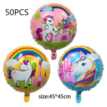 50PCS new cute Cartoon Unicorn Balloon Aluminum Foil Balloons For Birthday Party Inflatable Balls Decoration kids toys 45*45cm