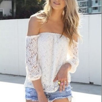Hollow Bandage Lace Boat Neckline Sexy Erotic  Shirt Blouse Top