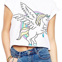 ROMWE Flying-horse Print Rolled-cuffs Loose White T-shirt