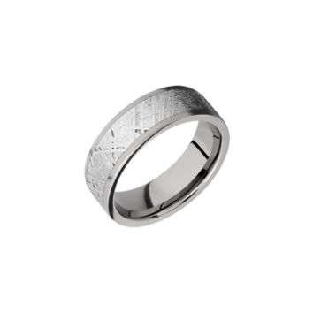 Brushed Titanium Band Ring With Meteorite Inlay