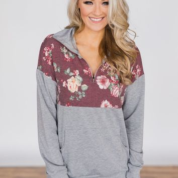 Burgundy and Floral Pullover