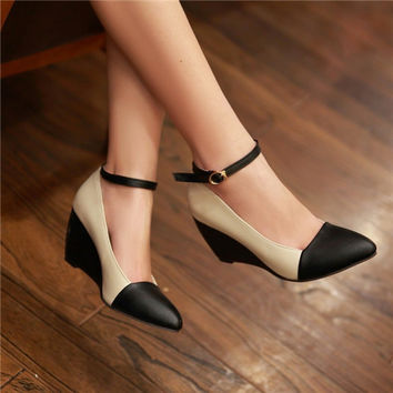 Fashion Pointy Toe Ankle Strappy Womens Wedge Heel Shoes  Contrast  Mary Janes Pumps