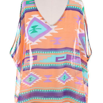 Peach Tribal Cutout Shoulder Poncho Top